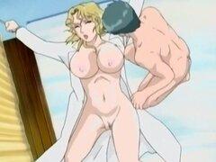 Rubia anime babe con tetas grandes